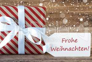 Present With Snowflakes, Text Frohe Weihnachten Means Merry Chri