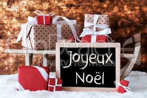 Sleigh With Gifts, Snow, Bokeh, Joyeux Noel Means Merry Christma