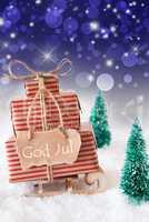 Vertical Sleigh, Blue Background, God Jul Means Merry Christmas