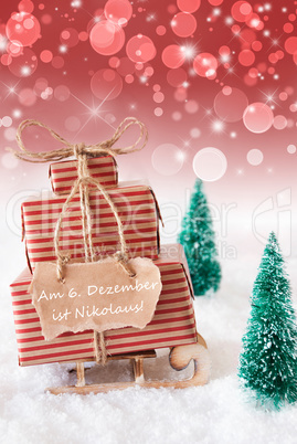 Vertical Christmas Sleigh, Red Background, Nikolaus Means Nicholas Day
