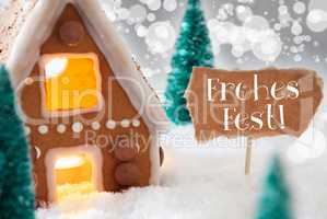 Gingerbread House, Silver Background, Frohes Fest Means Merry Christmas