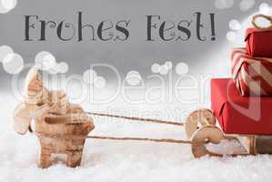 Reindeer With Sled, Silver Background, Frohes Fest Means Merry Christmas