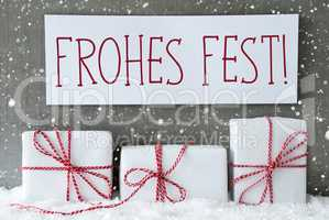 White Gift With Snowflakes, Frohes Fest Means Merry Christmas