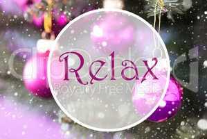 Blurry Rose Quartz Christmas Balls, Text Relax