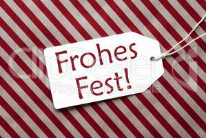 Label On Red Wrapping Paper, Frohes Fest Means Merry Christmas