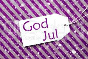 Label On Purple Paper, Snowflakes, God Jul Means Merry Christmas