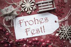 Nostalgic Decoration, Label With Frohes Fest Means Merry Christmas