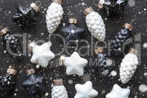 Black And White Christmas Tree Balls As Texture, Snowflakes