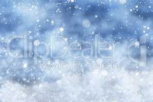 Blue Christmas Background With Snow, Snwoflakes