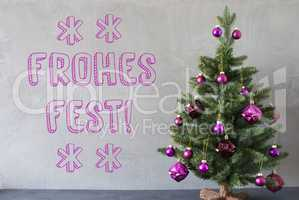 Tree, Cement Wall, Text Frohes Fest Means Merry Christmas