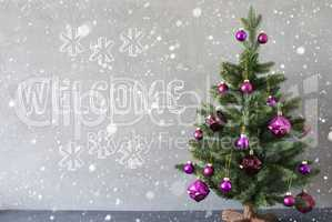 Christmas Tree With Snowflakes, Cement Wall, Text Welcome