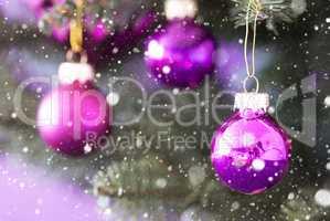 Blurry Christmas Tree With Rose Quartz Balls, Snowflakes