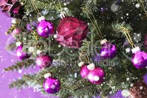Blurry Rose Quartz Chrismas Balls On Tree, Snowflakes