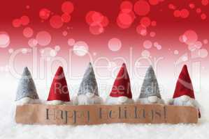 Gnomes, Red Background, Bokeh, Text Happy Holidays