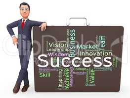 Success Words Represents Victor Succeed And Triumphant