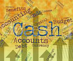 Cash Word Indicates Wealth Text And Finances