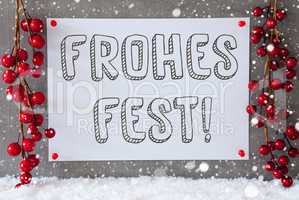 Label, Snowflakes, Decoration, Frohes Fest Means Merry Christmas
