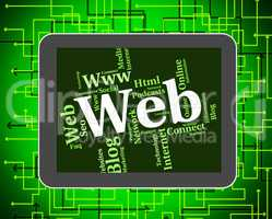 Web Word Represents Online Internet And Net