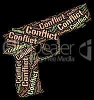 Conflict Word Shows Battle Encounter And Words