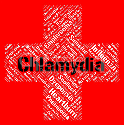Chlamydia Word Represents Sexually Transmitted Disease And Std