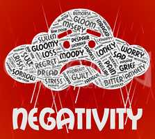Negativity Word Represents Wordclouds Dissentt And Fatalistic