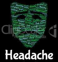 Headache Word Shows Text Headaches And Megrim