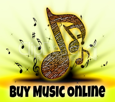 Buy Music Online Represents World Wide Web And Audio