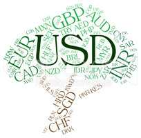 Usd Currency Represents United States Dollar And Banknote