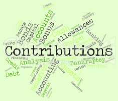 Contributions Word Indicates Give Volunteers And Volunteer