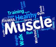 Muscle Words Represents Weight Lifting And Dumbbell
