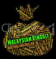 Malaysian Ringgit Represents Worldwide Trading And Banknotes