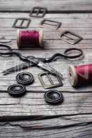 Retro set of buttons,thread and scissors