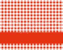 Tischdecke rot weiß mit Textstreifen
