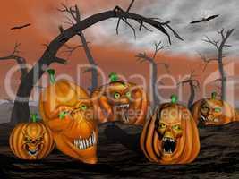 Halloween pumpkins and spooky trees - 3D render