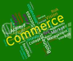Commerce Words Represents Ecommerce Buy And Buying
