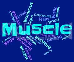 Muscle Words Represents Weight Lifting And Bodybuilding