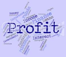 Profit Word Indicates Wordcloud Growth And Earning