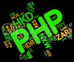 Php Currency Indicates Exchange Rate And Broker