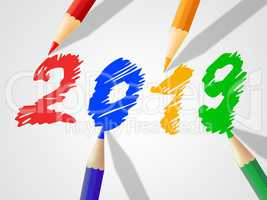 Twenty Nineteen Indicates New Year And Annual