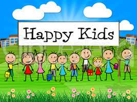 Happy Kids Banner Shows Childhood Happiness And Toddlers