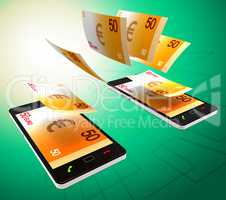 Euros Transfer Represents Cellphone Money And Banking