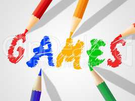 Kids Games Indicates Child Childhood And Drawing