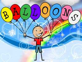 Balloons Boy Means Celebration Youth And Kids