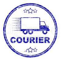 Courier Stamp Means Delivery Shipping And Transport