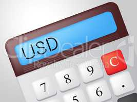 Usd Calculator Represents American Dollars And Accounting