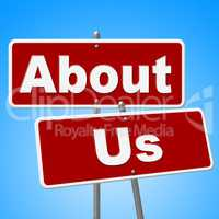 About Us Signs Represents Corporate Contact And Website