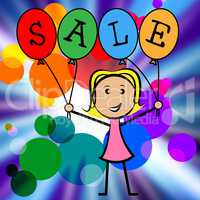 Sale Balloons Indicates Young Woman And Kids