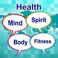 Health Words Indicates Well Healthcare And Wellness