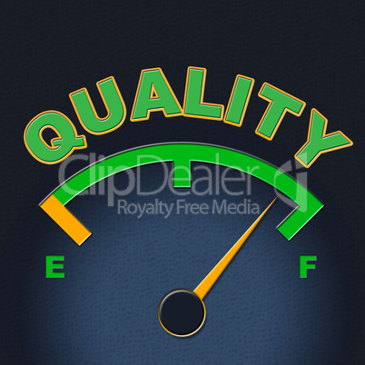 Quality Gauge Indicates Perfect Indicator And Satisfaction