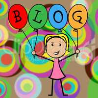 Blog Balloons Shows Young Woman And Kids